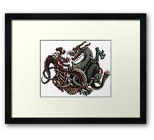 Dragons Fighting in Rings Framed Print