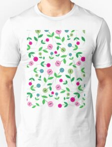 Pink & Turquoise Button Flowers Unisex T-Shirt