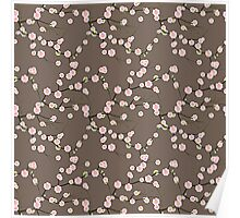 Japanese Pink Cherry Blossom Branches on Taupe Poster