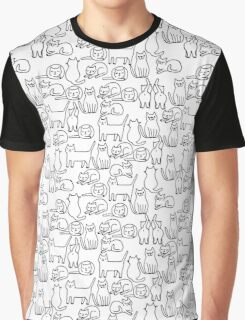 Funny sketchy white kitty cats Graphic T-Shirt
