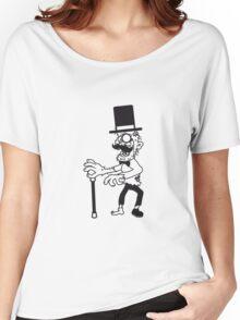 sir herr zylinder stock fliege anzug hut mustache schnurrbart alter mann zombie cool ekelig laufen horror monster halloween comic cartoon  Women's Relaxed Fit T-Shirt