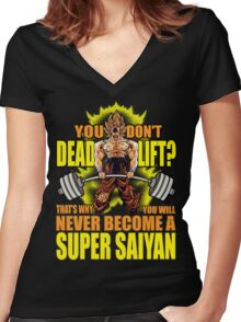 Do You Even Deadlift? (Goku) Women's Fitted V-Neck T-Shirt