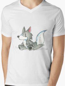 Grey Wolfy Mens V-Neck T-Shirt