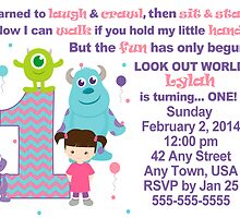 Custom made Monsters Inc. Girls Invitation ~ DO NOT PURCHASE THIS SAMPLE. SEE DESCRIPTION by sweetsisters