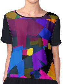 Florescent Geometric Abstract Pattern  Chiffon Top