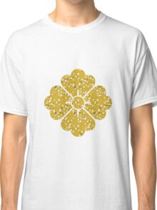 Japanese White Cherry Blossom Branches on Gold Classic T-Shirt