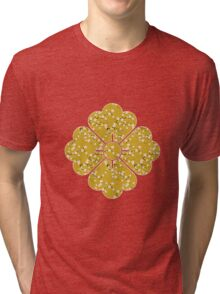 Japanese White Cherry Blossom Branches on Gold Tri-blend T-Shirt