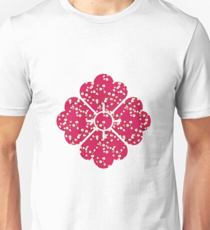 Japanese White Cherry Blossom Branches on Red Unisex T-Shirt