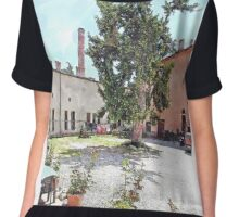 Brisighella: courtyard and building with pink facade Chiffon Top