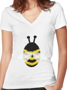Bumble Bee on white Women's Fitted V-Neck T-Shirt