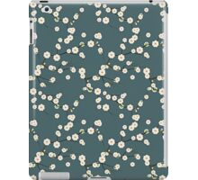 Japanese White Cherry Blossom Branches on Slate Blue iPad Case/Skin