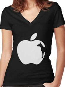 Black Dog Computers Man's Best Friend PC Phone Logo Women's Fitted V-Neck T-Shirt