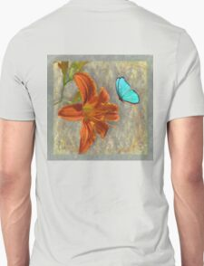 Afternoon in Tuscany, orange day lily aqua butterfly Unisex T-Shirt