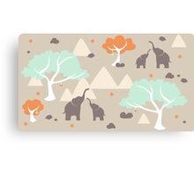 Elephant Family Safari Canvas Print