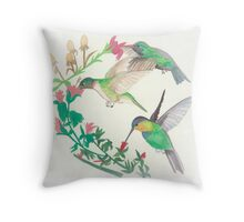 Hummingbirds in flight Throw Pillow