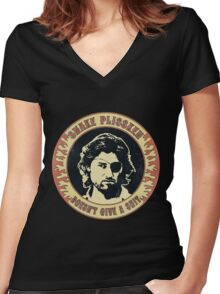 Snake Plissken (doesn't give a shit) Vintage Women's Fitted V-Neck T-Shirt