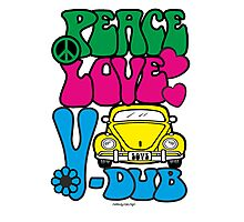 PEACE LOVE V-DUB - BEETLE Photographic Print