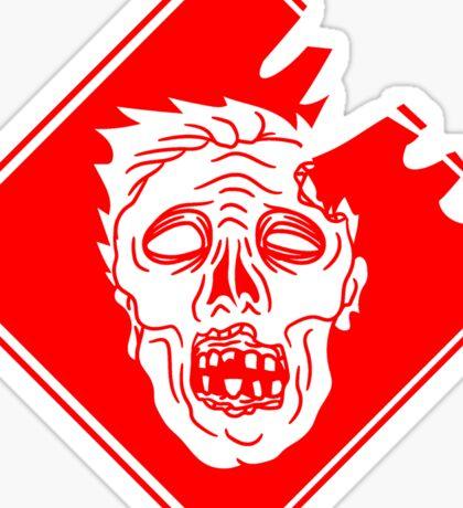 rot gefahr warnung schild achtung gefährlich gesicht horror halloween kopf zombie böse gruselig cartoon  Sticker