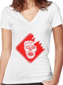 rot gefahr warnung schild achtung gefährlich gesicht horror halloween kopf zombie böse gruselig cartoon  Women's Fitted V-Neck T-Shirt