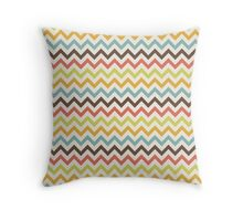Brown, Coral, Blue, Green, Yellow Chevron Stripes Throw Pillow