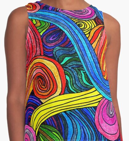 Psychedelic Lines Contrast Tank