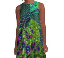 Under The Sea Fractal Keolidescope Pattern A-Line Dress