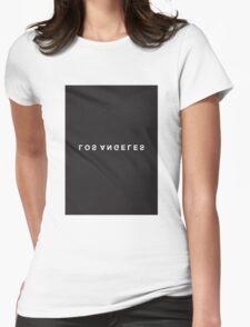 Los Angeles Minimalist Black and White - Trendy/Hipster Typography Womens Fitted T-Shirt
