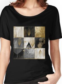 Fallen Gold Autumn Leaves Patchwork Women's Relaxed Fit T-Shirt