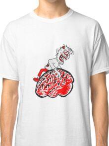 riesen gehirn fressen lecker essen zombie cool ekelig laufen horror monster halloween comic cartoon  Classic T-Shirt