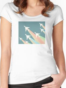 Airplanes Illustration Women's Fitted Scoop T-Shirt