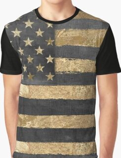 American Flag Gold and Black  Graphic T-Shirt
