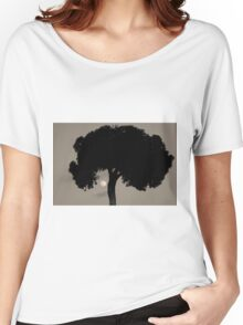 Lone Tree and Rising Moon Toned Women's Relaxed Fit T-Shirt