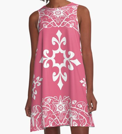 Deep Pink and White Floral Pattern A-Line Dress