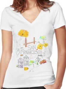 Friends + Neighbors : San Francisco Women's Fitted V-Neck T-Shirt