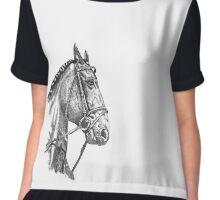 Fine line, hand drawn, Horse in Bridle Chiffon Top