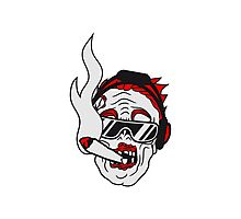 party dj joint rauchen kopfhörer musik cool sonnenbrille gesicht horror halloween kopf zombie böse gruselig cartoon  Photographic Print