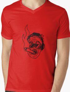 party dj joint rauchen kopfhörer musik cool sonnenbrille gesicht horror halloween kopf zombie böse gruselig cartoon  Mens V-Neck T-Shirt