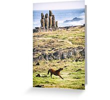 Downward Horse - Easter Island, Chile Greeting Card