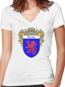 Davila Coat of Arms/Family Crest Women's Fitted V-Neck T-Shirt