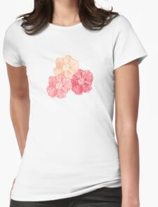 Blossoms (Aqua) Womens Fitted T-Shirt