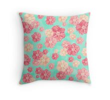 Blossoms (Aqua) Throw Pillow