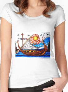 BROWN VIKING BOAT Women's Fitted Scoop T-Shirt