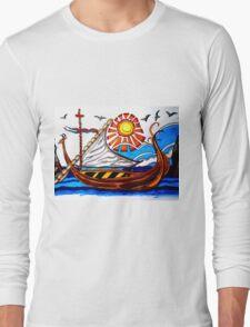 BROWN VIKING BOAT Long Sleeve T-Shirt