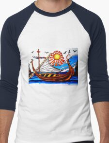 BROWN VIKING BOAT Men's Baseball ¾ T-Shirt