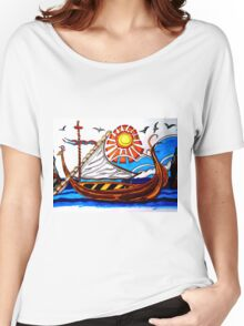 BROWN VIKING BOAT Women's Relaxed Fit T-Shirt