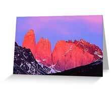 Towers at Sunrise - Torres del Paine, Chile Greeting Card