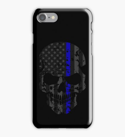 Thin Blue Line Police American Flag Distressed Skull iPhone Case/Skin