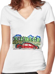 AUTO TRIP 1 Women's Fitted V-Neck T-Shirt