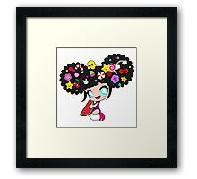 Sweet kawaii girl with watermelon Framed Print