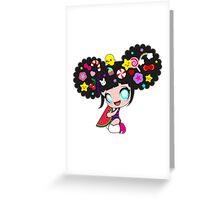 Sweet kawaii girl with watermelon Greeting Card